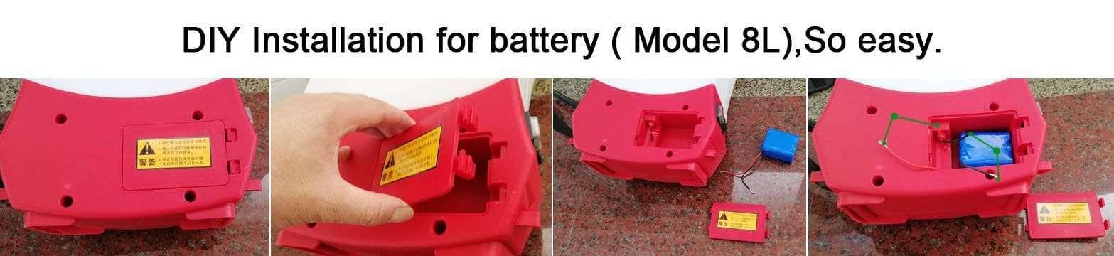 battery installation for 8L disinfectant sprayer