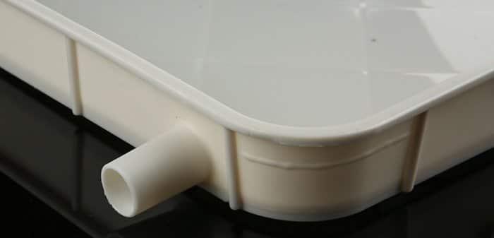 Air conditioner outdoor unit condensate drain tray 10