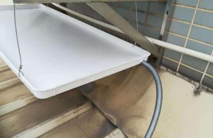 Air conditioner outdoor unit condensate drain tray 14