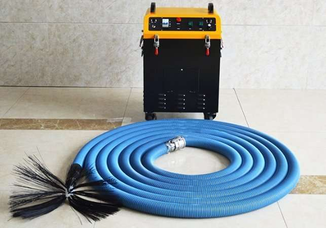 Rotary brush with dust vacuum extractor 2 in 1 air  duct cleaning machine 4