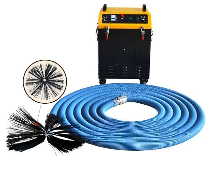 Rotary brush with dust vacuum extractor 2 in 1 air duct cleaning machine 2