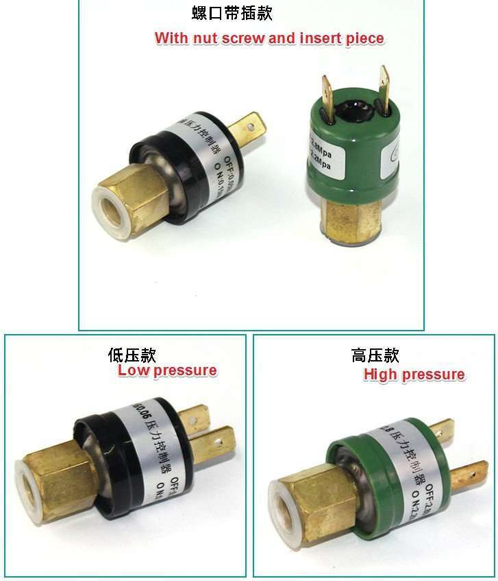 Pressure Switch HP and LP with nut screw and with insert piece