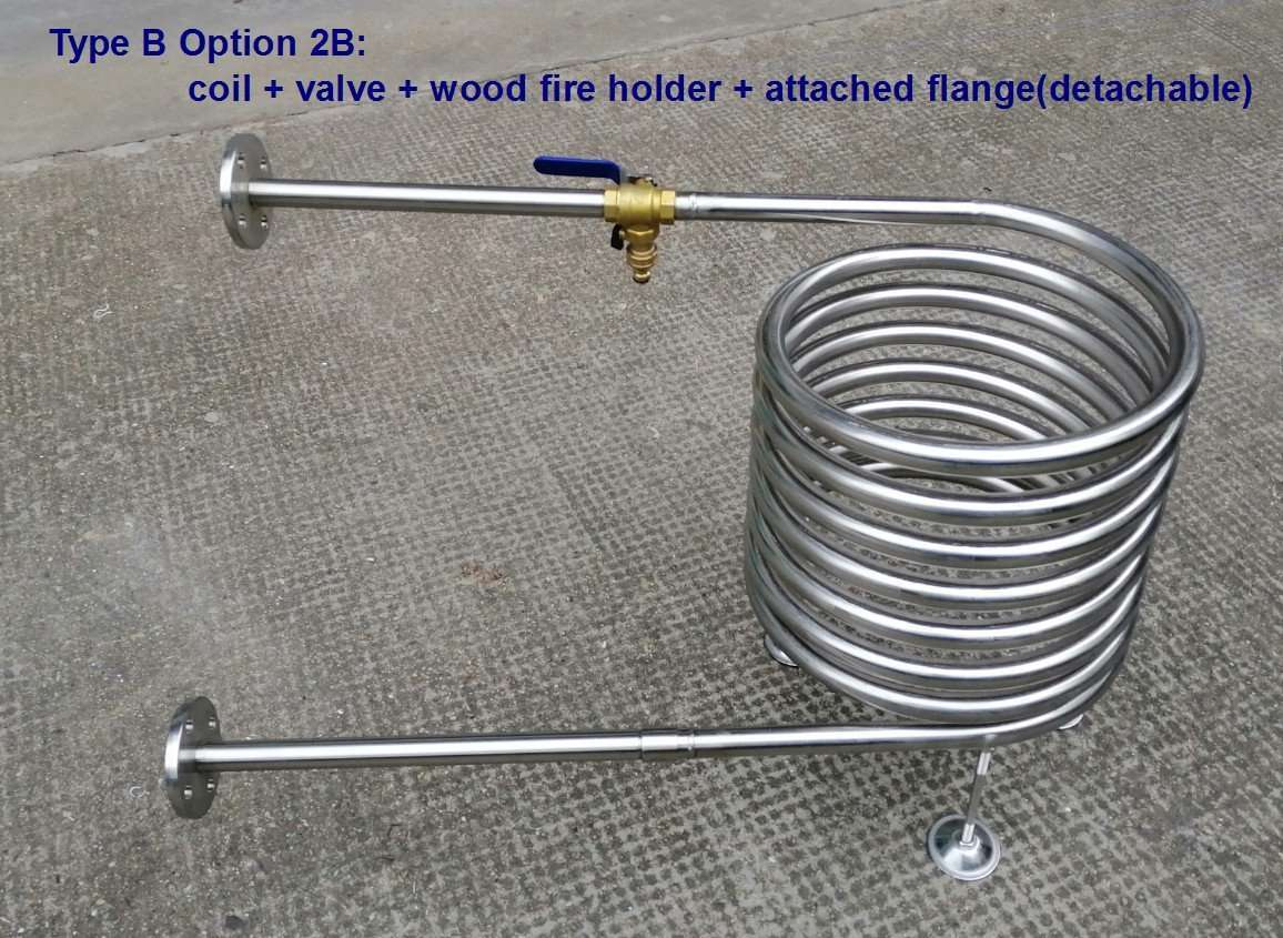 DIY wood burning hot tub`s parts coil heater type B option 2B