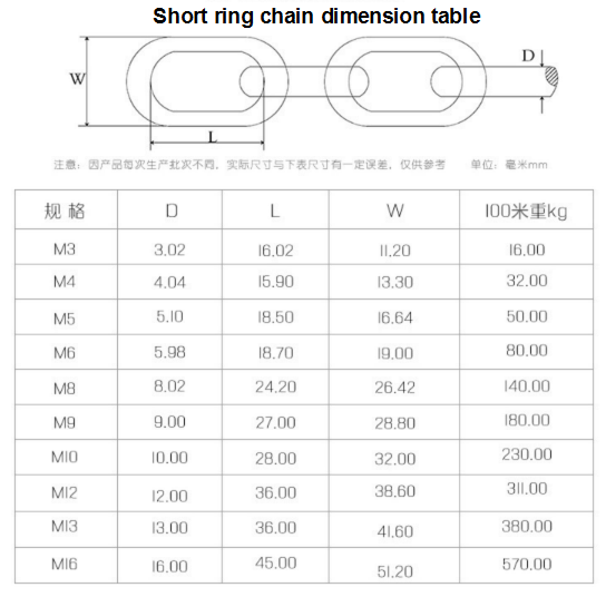 stainless steel short ring chain anchor link chain with many sizes